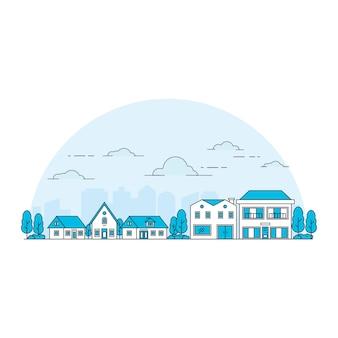 Ilustracja domu w stylu linii z tłem sylwetki miasta