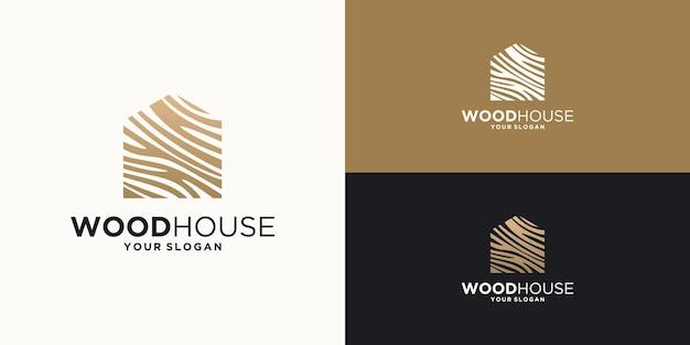 Ilustracja domu z drewna.projektowanie logo w domu