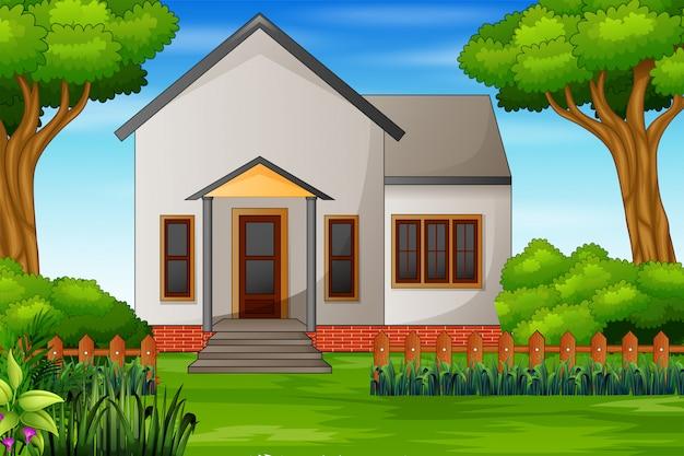 Ilustracja domu z zielonym dziedzińcem