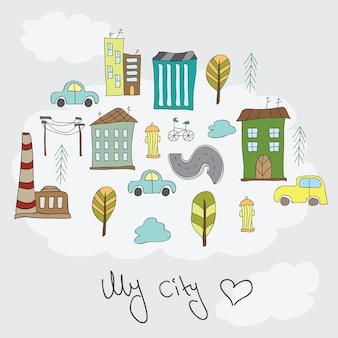 Ilustracja doodle kolorowe domy - karta do projektowania