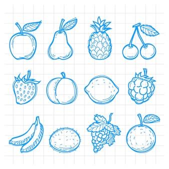Ilustracja doodle rysowane owoce, format eps 10