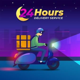 Ilustracja dostawy. mężczyzna jeździ nocą na skuterze