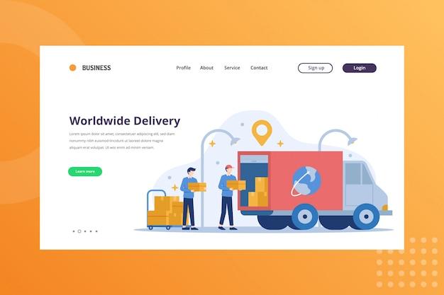 Ilustracja dostawy na cały świat dla koncepcji wysyłki i dostawy na stronie docelowej