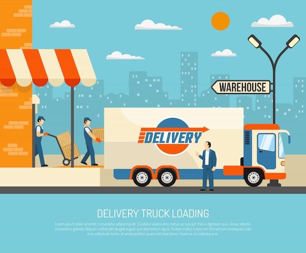 Ilustracja dostawy samochodów dostawczych
