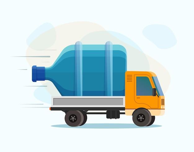 Ilustracja dostawy wody. kreskówka na białym tle samochód dostawczy ze zbiornikiem wody