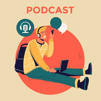 Ilustracja dotycząca podcastingu. ludzie słuchający dźwięku w słuchawkach