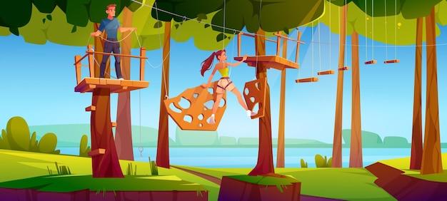 Ilustracja drabiny linowej w parku rozrywki
