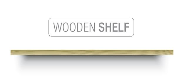 Ilustracja drewnianej półki wiszącej na białej ścianie.
