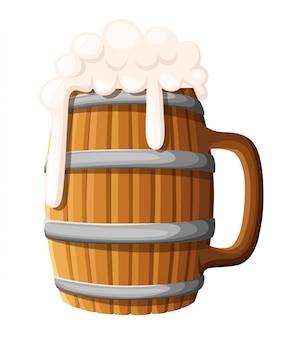 Ilustracja drewniany kufel piwa na tle. stary drewniany kubek piwa, lager lub ale z piankową pianką. menu pubu i baru, etykieta napoju alkoholowego, symbol browaru