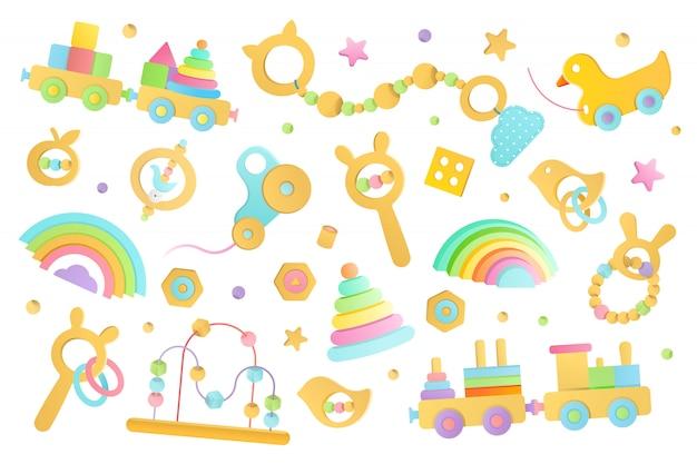 Ilustracja drewnianych zabawek dla niemowląt i małych dzieci