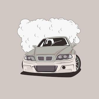 Ilustracja drift samochodu