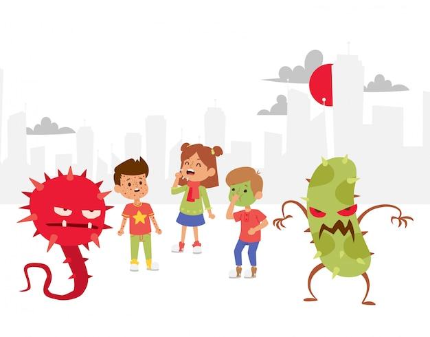 Ilustracja drobnoustrojów. wirusy z kreskówek. złe mikroorganizmy dla dzieci. różne obrzydliwe bakterie.