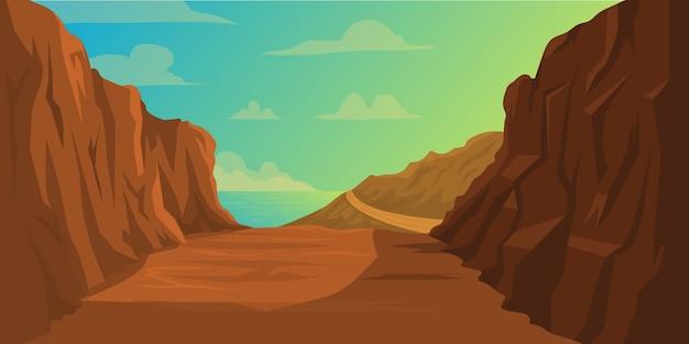 Ilustracja drogi z urwiskiem obok i blisko morza naturalne tło