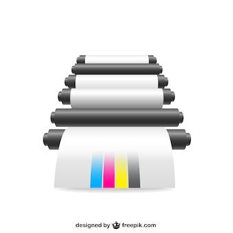 Ilustracja drukarki cmyk