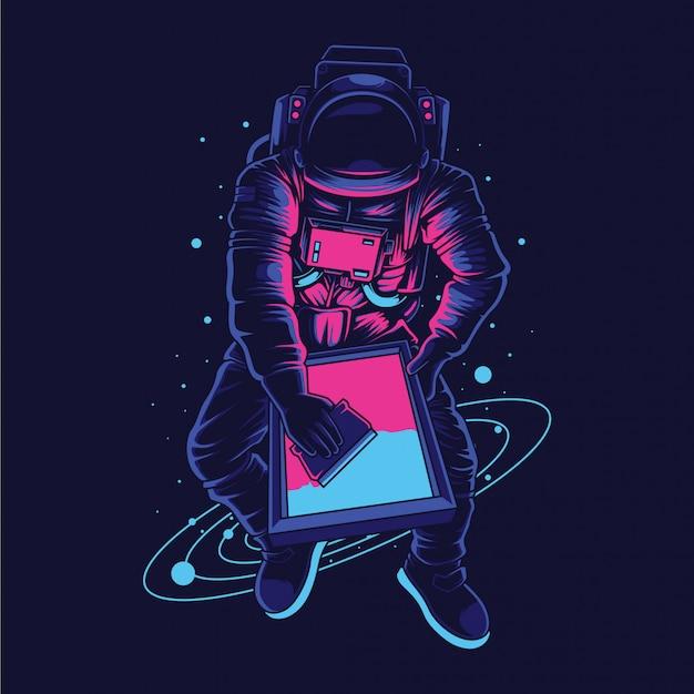 Ilustracja drukarki ekranu astronauta