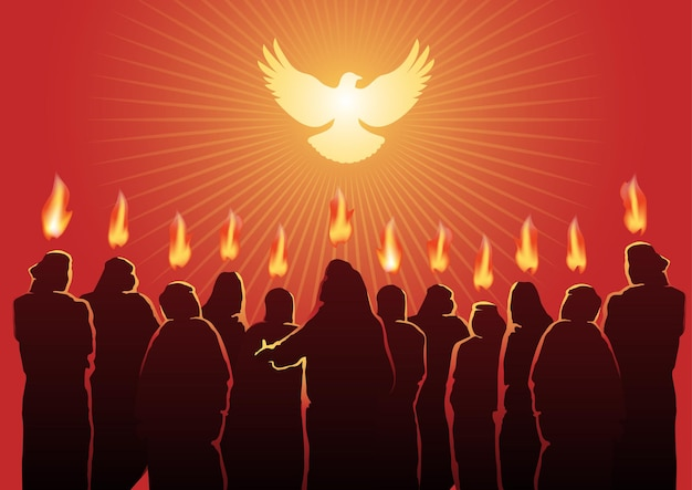 Ilustracja ducha świętego w niedzielę zesłania ducha świętego. seria biblijna