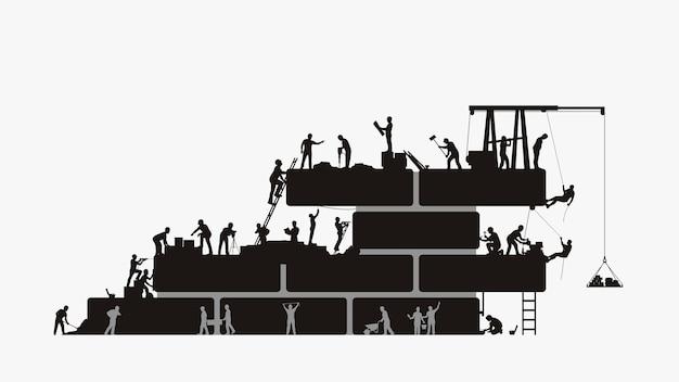 Ilustracja duża grupa konstruktorów sylwetka pracujących w budowie na białym tle.