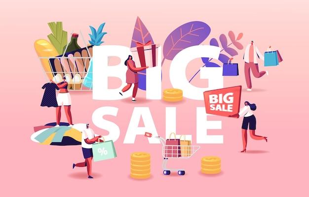 Ilustracja duża sprzedaż. postacie na zakupach z sezonową zniżką