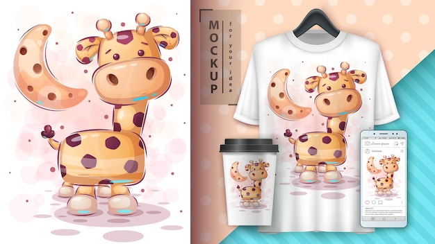Ilustracja duża żyrafa i merchandising