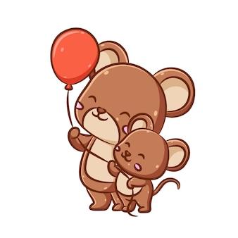 Ilustracja dużej uroczej myszy trzyma czerwone balony i bawi się małą myszką