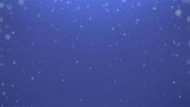 Ilustracja dużo przezroczystych płatków śniegu w śniegu na niebieskim tle