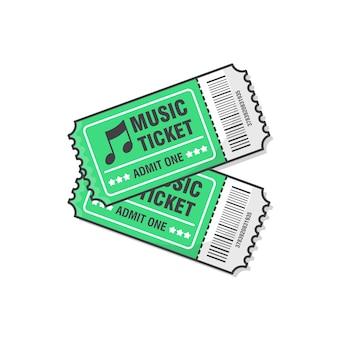 Ilustracja dwa bilety na koncerty muzyczne. bilet wstępu na wydarzenie