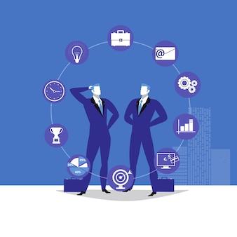 Ilustracja dwóch biznesmenów i ikon biznesowych