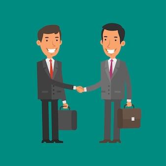 Ilustracja, dwóch biznesmenów podają sobie ręce i uśmiechają się, format eps 10
