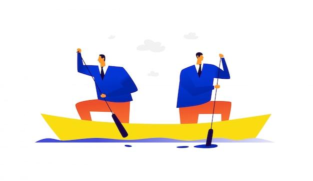 Ilustracja dwóch biznesmenów w łodzi.