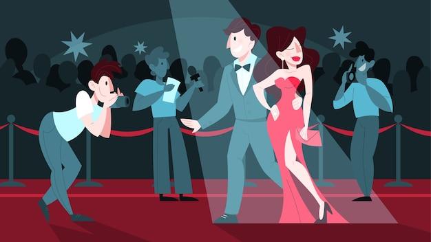 Ilustracja dwóch celebrytów na czerwonym dywanie, pozujących do fotografa i paparazzi. famos i piękny aktor i aktorka idą na uroczystość.