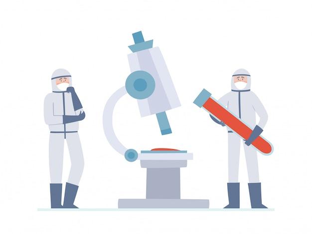 Ilustracja dwóch malutkich lekarzy - naukowców i dużego mikroskopu na białym. myślący pracownicy medyczni i duża rurka z krwią w maskach zapobiegających zanieczyszczeniu powietrza w mieście, koronawirus.