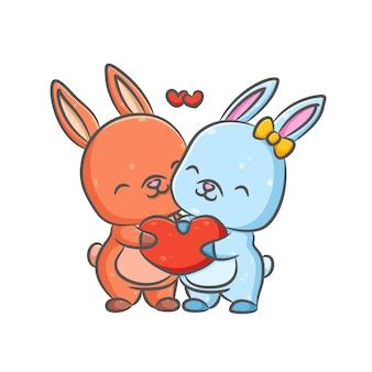 Ilustracja dwóch małych niebiesko-czerwonych królików trzyma i dzieli ich serce razem z czerwoną miłością