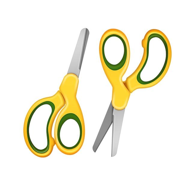 Ilustracja dwóch nożyczek bezpieczeństwa dla dzieci w kolorze żółtym. na białym tle