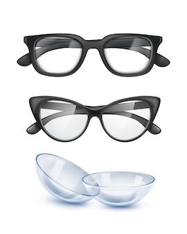 Ilustracja dwóch okularów w czarnych oprawkach do wizji i szablonu soczewek kontaktowych