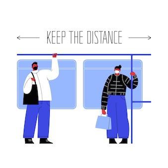 Ilustracja dwóch postaci stojących w transporcie publicznym, trzymających się poręczy zakrywającej twarze maskami trzymającymi się z dala od siebie.