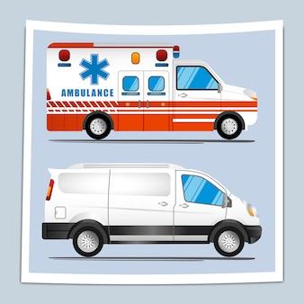 Ilustracja dwóch rodzajów pojazdów, karetek pogotowia i furgonetek
