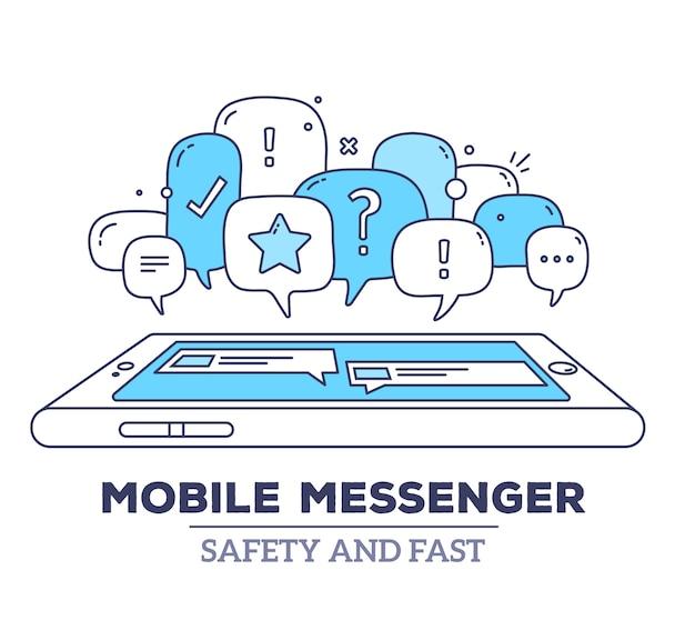 Ilustracja dymków dialogowych w kolorze niebieskim z ikonami, telefonem i komunikatorem tekstowym na białym tle. bezpieczeństwo i szybki komunikator mobilny