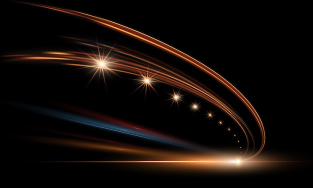 Ilustracja dynamicznych świateł w ciemności. szybkie drogi w abstrakcji w porze nocnej. miasto drogi samochód światło ślady ruchu w tle.