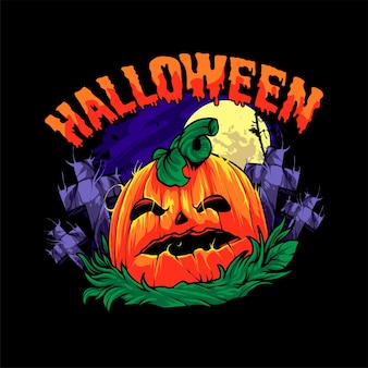 Ilustracja dyni halloween. idealny do produktu t-shirt