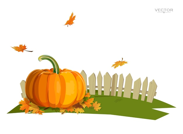 Ilustracja dyni w pobliżu ogrodzenia i spadających liści na trawniku święto dziękczynienia jesień
