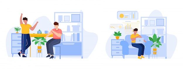 Ilustracja dyskusji ludzi. praca z domu ilustracji