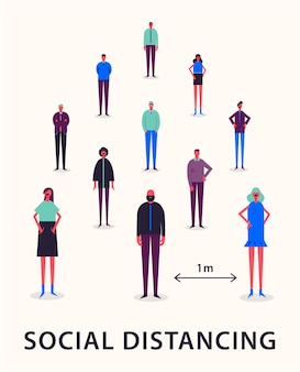 Ilustracja - dystans społeczny. utrzymywanie odległości 1 metra w celu ochrony przed wirusem koronowym covid-19