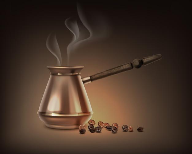 Ilustracja dzbanek do kawy po turecku z drewnianą rączką