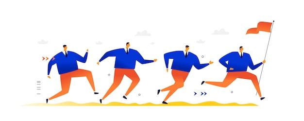 Ilustracja działających biznesmenów. tłum mężczyzn biegnie za przywódcą, mężczyzną alfa niosącym flagę, sztandar. płaska ilustracja.