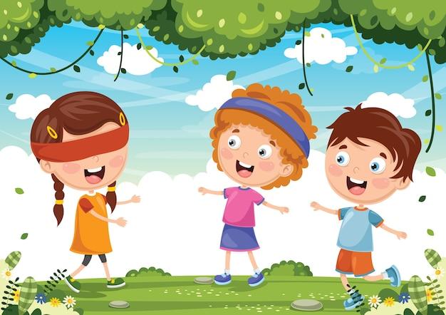 Ilustracja dzieci bawiących się buffami niewidomych