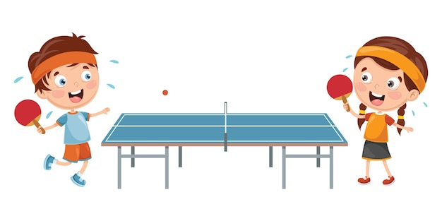 Ilustracja dzieci grających w tenisa stołowego