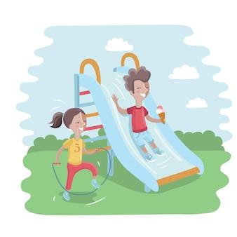 Ilustracja dzieci na placu zabaw. ładny chłopak przesuwa zjeżdżalnię dla dzieci i szczęśliwa dziewczyna skacze przez skakankę
