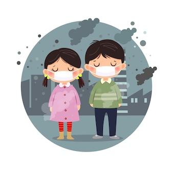 Ilustracja dzieci noszących maski przed smogiem w mieście. drobny pył, zanieczyszczenie powietrza, koncepcja ochrony przed smogiem przemysłowym.