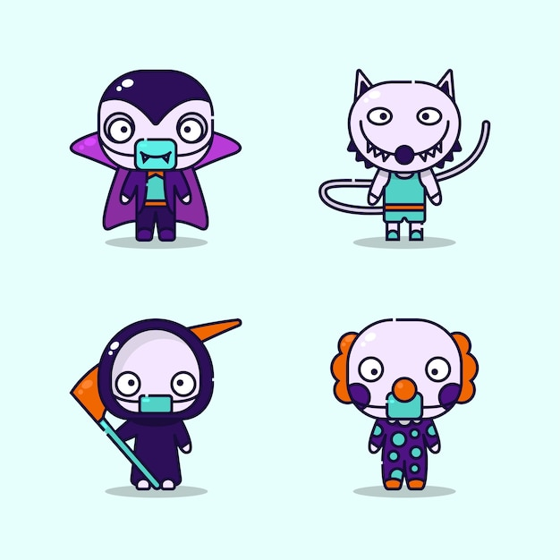 Ilustracja dzieci noszących wampira, wilkołaka. kostiumy ponurego żniwiarza i klauna oraz ochronna maska medyczna na imprezę halloweenową