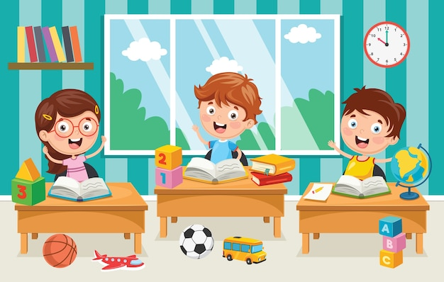 Ilustracja dzieci w wieku przedszkolnym